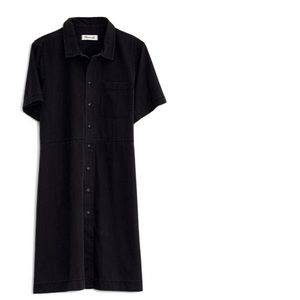 Madewell washed out black waisted denim shirtdress